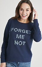 Navy 'Forget Me Not' Slogan Sweatshirt - 10