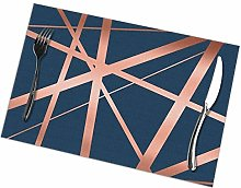 Navy And Copper Luxe Placemat Washable For Kitchen