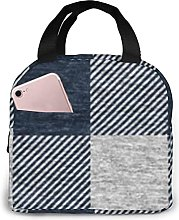 Navy and Cream Gingham Insulated Lunch Bag Cooler