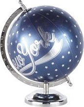 Navy Blue and Silver World Map Globe