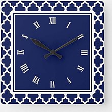 Navy Blue and White Quatrefoil Pattern Square Wall