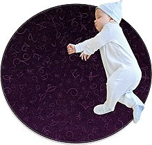 navy blue Character art, Kids Round Rug Polyester