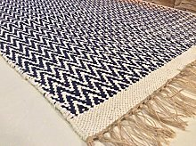 Navy Blue Handmade Recycled Cotton with Jute