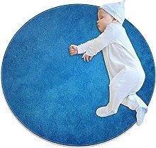 Navy blue, Kids Round Rug Polyester Throw Area Rug