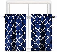 Navy Blue Moroccan Tile Print Blackout Curtain