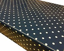 Navy Blue Polka Dot PVC Vinyl Wipe Clean