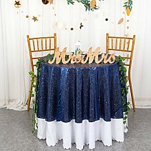 Navy Blue Round Tablecloth 48-Inch Small Sequin