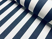 Navy Blue & White Striped DRALON Outdoor Fabric