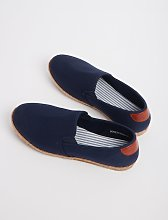 Navy Canvas Espadrilles With Striped Footbed - 7