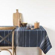 Navy Cotton Tablecloth with White Stripe Print