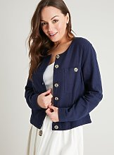 Navy Cropped Linen-Rich Jacket - 24