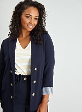 Navy Double Breasted Blazer - 14