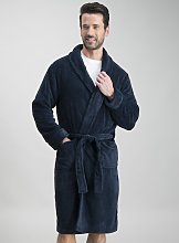 Navy Fleece Soft Dressing Gown - S