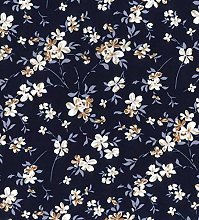 Navy Flowers Floral Blender Garden White Brown -