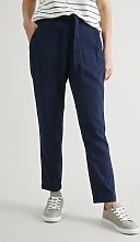 Navy Linen-Rich Cropped Tapered Trousers - 10