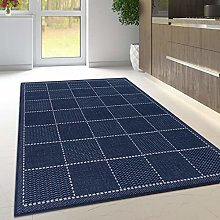 Navy Rug Non Slip Kitchen Living Room Blue Flat