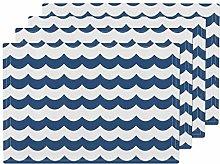 Navy Stripe Blue Waves Nautical Chevron Scallop