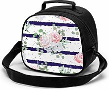 Navy Striped Bouquets Rose Insulated Lunch Bag