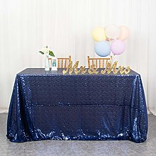 Navy Table Cloths Sequin Tablecloth 60x102-Inch