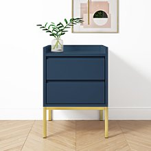 Navy Two Drawer Bedside Table - Zion