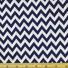 Navy/White - Printed Polycotton Fabric 6mm CHEVRON