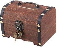 NC Wooden Money Storage Box, Safe Box with Lock