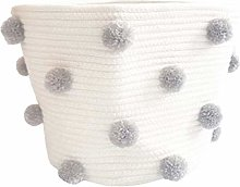 NCONCO Baby Toy Storage Bin Kids Cotton Rope Pom