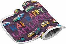 ND Happy Camper Oven Mitts and Potholders BBQ