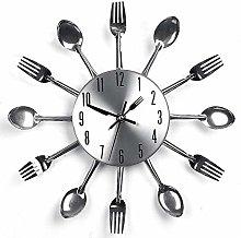nearbyeu Wall Clock Cutlery Kitchen Fork Knife