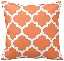 Nectarine Orange and White Decorative Cushion