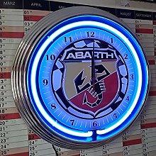 NEON Clock Abarth Racing Flag 3 - Garage Sign -