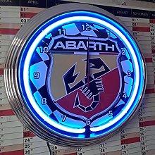 NEON Clock Abarth Racing Flag 4 - Garage Sign