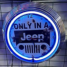 Neon Clock Aged - Only In A Jeep SIGN Garage