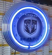 NEON CLOCK DODGE RAM SIGN WALLCLOCK BLUE NEON RIM