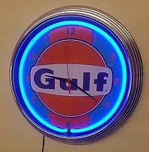 NEON Clock - Gulf Racing Stripes #2. WALLCLOCK
