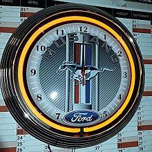 NEON CLOCK - MUSTANG RACING CARBON DESIGN WANDUHR