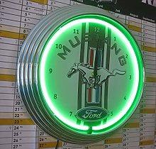 NEON CLOCK - MUSTANG RACING STRIPES SIGN -