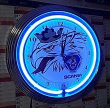 NEON Clock NEONUHR Scania SWEMPA WALLCLOCK Blue