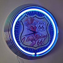 NEON Clock Pinup Girl ROUTE-66 I Love Riding 66! -