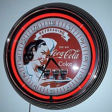 NEON Clock - Pinup Refreshing COCA COLA NEON RED!