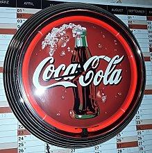 NEON CLOCK RED COCA-COLA SIGN RED NEON RIM!