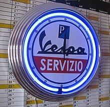 NEON CLOCK VESPA SERVIZIO SIGN-WALLCLOCK WORKING