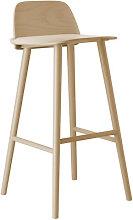 Nerd Bar chair - H 75 cm - Wood by Muuto Natural