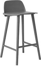 Nerd Bar stool - H 65 cm / Wood by Muuto Dark grey