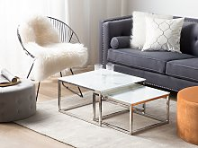 Nest of 2 Coffee Tables White Top Marble Effect