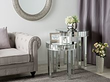Nest of 2 Side Tables Silver Mirrored Glass Round