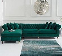 Nesta Chesterfield Left Corner Sofa In Green Velvet