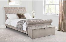 Netfurniture - Caravegio Fabric Bed MINK CHENILLE