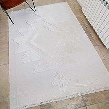 Neutral Cream Cotton Flatweave Carpet Rug Boho