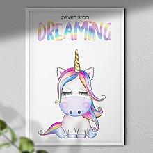 Never Stop Dreaming - Nursery Print | Unicorn